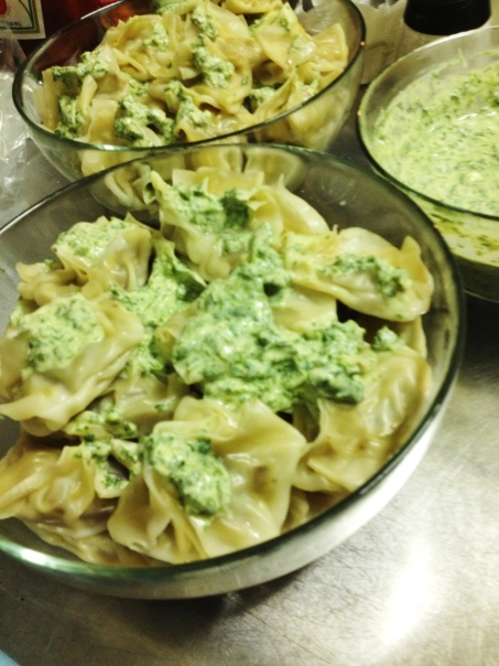 Homemade Mantu with an Afghan influenced lemony cilantro yogurt sauce.