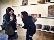 Lina, Rakia and Munmun, Arab American Lit students at our trip to Alexander Bonin Gallery featuring Emily Jacir's Exhibit.