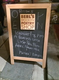 Celebration of April Naoko Heck and Matthew J. Burgess' first books of poetry at Berl's in DUMBO