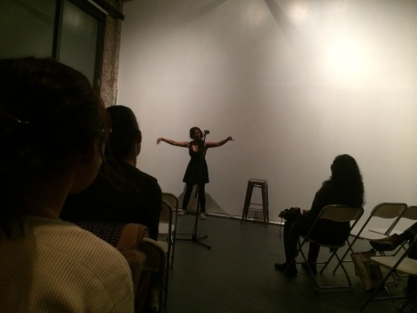 Yalini Dream performs her poetry/dance [kinetic poetry?] at AALR launch